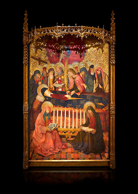 Gothic altarpiece of the Dormition of the Madonna (Dormicio de la Mare de Dieu) by Pere Garcia de Benavarri, circa 1460-1465, tempera and gold leaf on wood.  National Museum of Catalan Art, Barcelona, Spain, inv no: MNAC  64040. Against a black background.