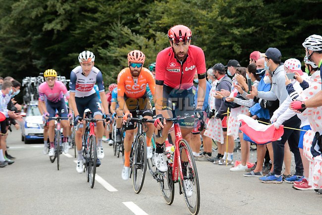 Thomas De Gendt (BEL) Lotto Soudal and Simon Geschke (GER) CCC Team climb Col de Marie Blanque during Stage 9 of Tour de France 2020, running 153km from Pau to Laruns, France. 6th September 2020. <br /> Picture: Colin Flockton | Cyclefile<br /> All photos usage must carry mandatory copyright credit (© Cyclefile | Colin Flockton)
