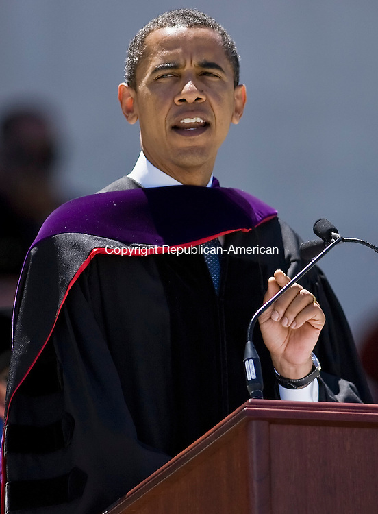 MIDDLEBURY--25 May 08--052508TJ04 - Democratic presidential hopeful Senator Barack Obama gives the commencement address during Wesleyan University's 176th commencement ceremony on Sunday, May 25, 2008. Visit www.rep-am.com to view a photo gallery of this event. (T.J. Kirkpatrick/Republican-American)