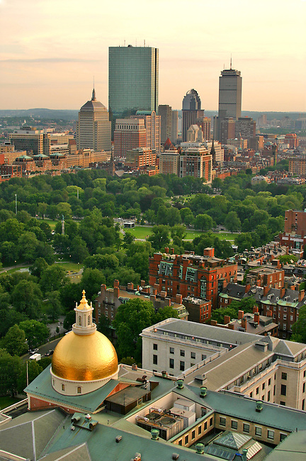 Boston's back Bay with MA State House in foreground as seen from the Mc Cormick (?spell) Building