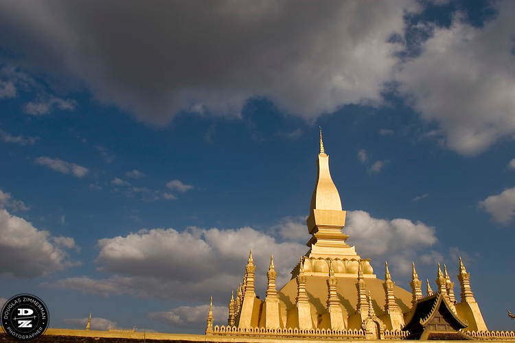 Pha That Luang - The Golden Stupa, national symbol of Laos, in Vientiane, Laos. Photograph by Douglas ZImmerman.
