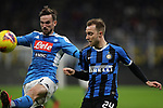 Fabian Ruiz of Napoli and Christian Eriksen of Inter during the Coppa Italia match at Giuseppe Meazza, Milan. Picture date: 12th February 2020. Picture credit should read: Jonathan Moscrop/Sportimage