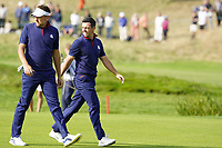 Ian Poulter (Team Europe) and Rory McIlroy (Team Europe) on the 10th during the friday foursomes at the Ryder Cup, Le Golf National, Ile-de-France, France. 28/09/2018.<br /> Picture Fran Caffrey / Golffile.ie<br /> <br /> All photo usage must carry mandatory copyright credit (© Golffile | Fran Caffrey)