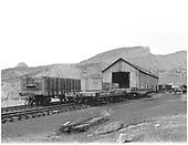 Number of freight cars near Durango car repair shop.<br /> D&amp;RGW  Durango, CO