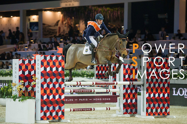 Team Blaze: Rider Daniel Deusser of Germany and Jockey Neil Callan of Ireland compete during the Hong Kong Jockey Club Race of the Riders, part of the Longines Masters of Hong Kong on 10 February 2017 at the Asia World Expo in Hong Kong, China. Photo by Juan Serrano / Power Sport Images