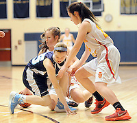 Villa Marie's Julia Samar #35 and Gwynedd Mercy's Maggie Cameron #10 (behind) and Brigit Coleman #22 battle for a loose ball in the first quarter of the District One Class AAA girls basketball championship game Saturday February 27, 2016 at Council Rock South in Northampton, Pennsylvania. (Photo by William Thomas Cain)