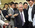 May 9, 2013, Tokyo, Japan - Chairman Osamu Suzuki, center, of Suzuki Motor Corp. is mobbed by the media after he announced fourth quarter earnings for the year ended March 2013 during a news conference in Tokyo on Thursday, May 9, 2012. Helped by record vehicle sales at home and in Asia, Japan's No. 4 automaker Suzuki booked a record 80.4 billion yen in net profit, up 49.2 percent year-on-year.  (Photo by Natsuki Sakai/AFLO)