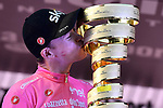 Maglia Rosa Chris Froome (GBR) Team Sky takes the overall victory and now holds all 3 grand tour titles on the podium at the end of Stage 21 of the 2018 Giro d'Italia, running 115km around the centre of Rome, Italy. 27th May 2018.<br /> Picture: LaPresse/Fabio Ferrari | Cyclefile<br /> <br /> <br /> All photos usage must carry mandatory copyright credit (&copy; Cyclefile | LaPresse/Fabio Ferrari)