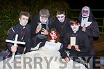 Melena Wenzel surrounded by Michael Nix, Ciaran Crowley, Niles Ahrensneier, Liat Eggerwith and Adam Butler at Knocknagoshel Halloween festival on Sunday night