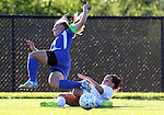 SIOUX FALLS, SD - SEPTEMBER 5: Ciara Howerton #21 from the University of Sioux Falls slides to control the ball as Lauren Hoeft #11 from Nebraska Kearney tries to steal the ball in the first half of their game Friday evening in Sioux Falls.  (Photo by Dave Eggen/Inertia)