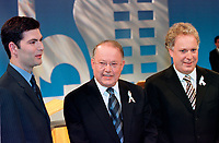 March 31 2003, Montreal, Quebec, Canada<br /> <br /> Mario Dumont, Leader Quebec Democratic Action (ADQ : Action DÈmocratique du QuÈbec) (L)and<br /> Bernard Landry, Quebec Premier and Leader of the Parti Quebecois (M) talk with <br /> Jean Charest, Leader of  Quebec Liberal Party<br />  ( Parti LibÈral du QuÈbec)(R) <br /> before  the Televised debate between leaders , March 31 2003 in Montreal, Canada.<br /> <br /> Quebec elections will be held April 14, 2003<br /> <br /> Mandatory Credit: Photo by  Steeve Duguay- Images Distribution. (©) Copyright 2003 by  Steeve Duguay<br /> <br /> NOTE : <br />  Nikon D-1 jpeg opened with Qimage icc profile, saved in Adobe 1998 RGB<br /> .Uncompressed  Original  size  file availble on request.