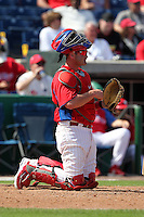Philadelphia Phillies Brian Schneider #23 during a scrimmage vs the Florida State Seminoles  at Bright House Field in Clearwater, Florida;  February 24, 2011.  Philadelphia defeated Florida State 8-0.  Photo By Mike Janes/Four Seam Images