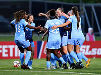 Piscataway, NJ - Sunday April 30, 2017: Kayla Mills, Kelley O'hara, Mandy Freeman and Leah Galton during a regular season National Women's Soccer League (NWSL) match between Sky Blue FC and FC Kansas City at Yurcak Field.