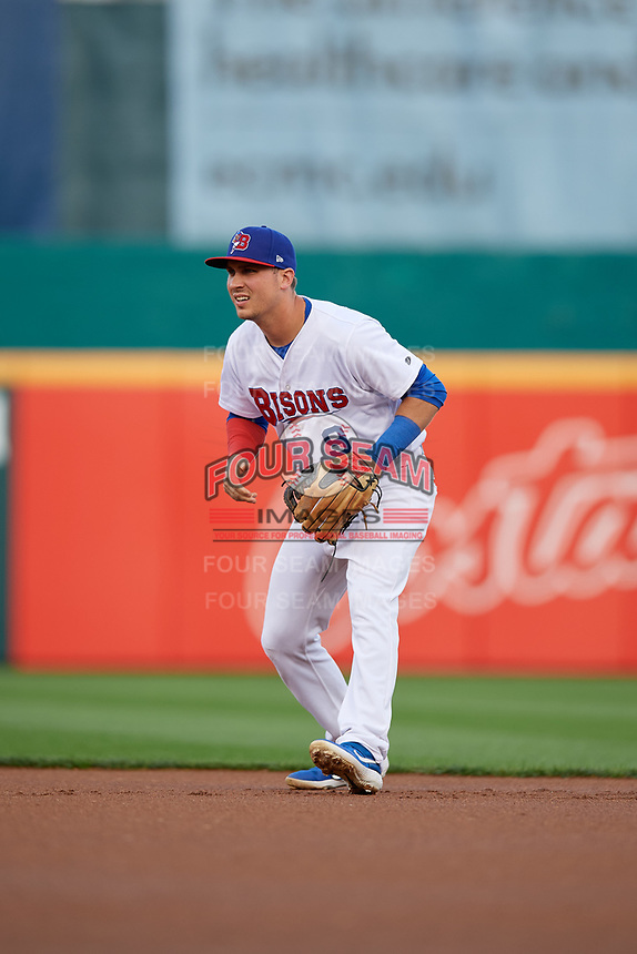 Buffalo Bisons second baseman Andy Burns (9) during an International League game against the Rochester Red Wings on August 26, 2019 at Sahlen Field in Buffalo, New York.  Buffalo defeated Rochester 5-4.  (Mike Janes/Four Seam Images)