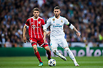 Sergio Ramos (R) of Real Madrid fights for the ball with Thomas Muller of FC Bayern Munich during the UEFA Champions League Semi-final 2nd leg match between Real Madrid and Bayern Munich at the Estadio Santiago Bernabeu on May 01 2018 in Madrid, Spain. Photo by Diego Souto / Power Sport Images