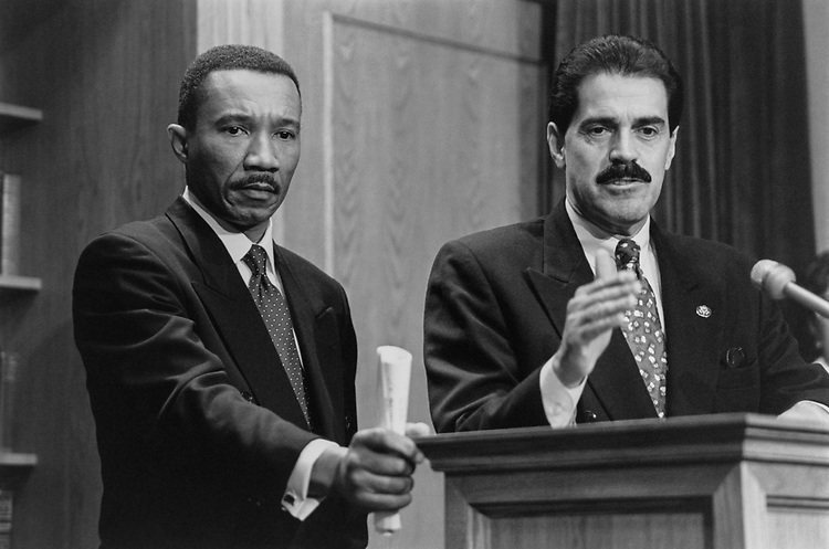 Rep. Kweisi Mfume, D-Md., and Rep. José E. Serrano, D-N.Y., on Legislative Service Organizations (LSO), on Dec. 8, 1994. (Photo by Laura Patterson/CQ Roll Call via Getty Images)