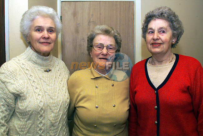 Charlotte Heeney, Vera Powderly and Kathleen O'Neill, Duleek, volunteers who organise the senior citizens party at the Duleek Parish Centre..pic:Arthur Carron/ Newsfile