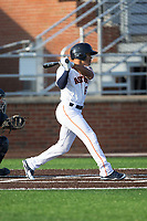 Jason Martin (6) of the Buies Creek Astros follows through on his swing against the Wilmington Blue Rocks at Jim Perry Stadium on April 29, 2017 in Buies Creek, North Carolina.  The Astros defeated the Blue Rocks 3-0.  (Brian Westerholt/Four Seam Images)