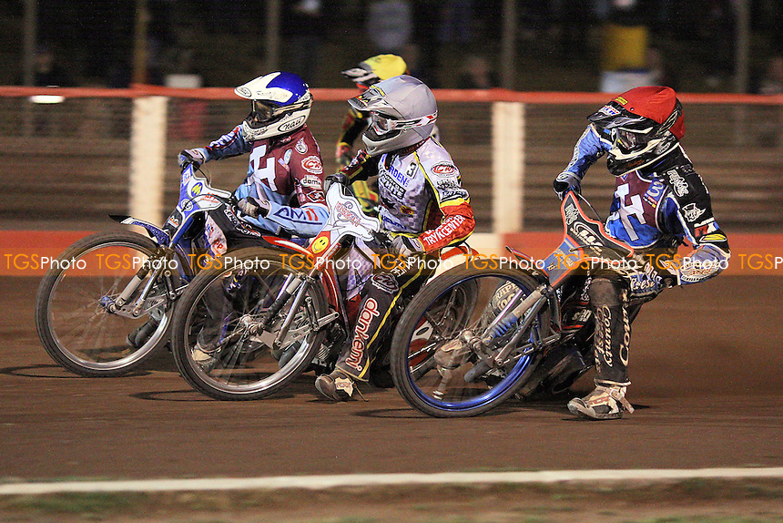 Heat 15: Davey Watt (red), Piotr Swiderski (blue), Jesper Monberg (white) and Scott Nicholls (yellow) - Lakeside Hammers vs Swindon Robins - Elite League Speedway at Arena Essex Raceway - 12/08/11 - MANDATORY CREDIT: Gavin Ellis/TGSPHOTO - Self billing applies where appropriate - 0845 094 6026 - contact@tgsphoto.co.uk - NO UNPAID USE.
