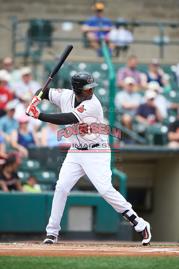 Rochester Red Wings first baseman Kennys Vargas (35) at bat during a game against the Columbus Clippers on June 16, 2016 at Frontier Field in Rochester, New York.  Rochester defeated Columbus 6-2.  (Mike Janes/Four Seam Images)
