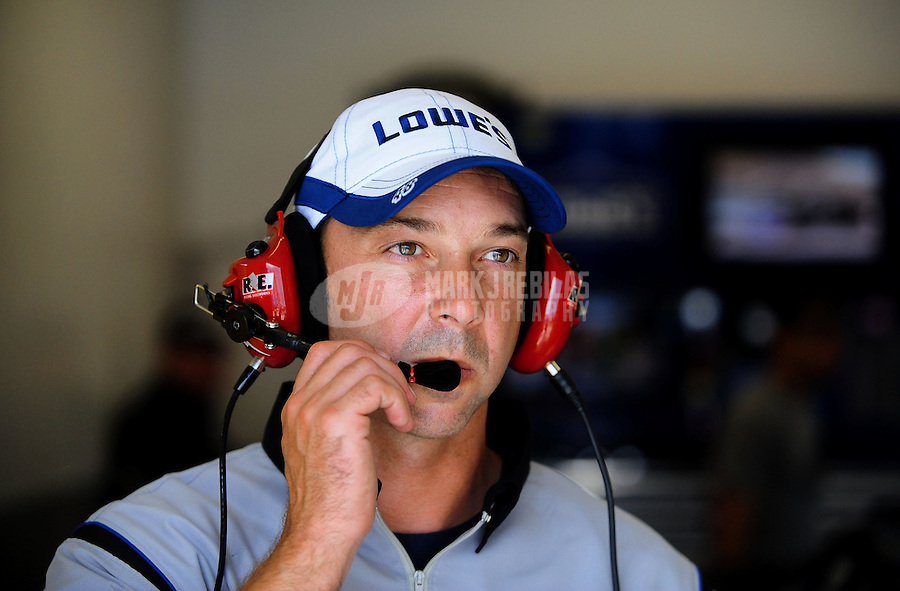 Jul. 1, 2010; Daytona Beach, FL, USA; NASCAR Sprint Cup Series crew chief Chad Knaus during practice for the Coke Zero 400 at Daytona International Speedway. Mandatory Credit: Mark J. Rebilas-