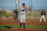 AZL Padres 1 relief pitcher Brandon Komar (14) during an Arizona League game against the AZL Indians Red on June 23, 2019 at the Cleveland Indians Training Complex in Goodyear, Arizona. AZL Indians Red defeated the AZL Padres 1 3-2. (Zachary Lucy/Four Seam Images)