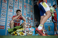 An extremely disappointed 2nd, Jurgen Roelandts (BEL/Lotto-Soudal) on the podium observes how Preben van Hecke (BEL/Topsport Vlaanderen - Baloise) is celebrated as the new Belgian National Champion<br /> <br /> Belgian Championships 2015