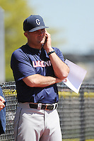 University of Connecticut Huskies Head Coach Jim Penders (16) during game against the Rutgers University Scarlet Knights at Bainton Field on May 3, 2013 in Piscataway, New Jersey. Connecticut defeated Rutgers 3-1.      . (Tomasso DeRosa/ Four Seam Images)