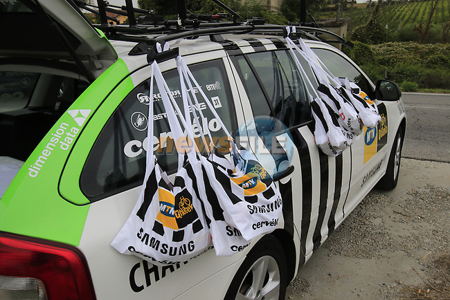 MTN-Qhubeka at the feed zone in Pozzo Sant'Evasio during the 2015 96th Milan-Turin 186km race starting at San Giuliano Milanese, Italy. 1st October 2015.<br /> Picture: Eoin Clarke | Newsfile