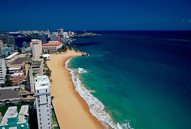 Beach and hotels along Atlantic Ocean, Condado, San Juan, Puerto Rico, West Indies