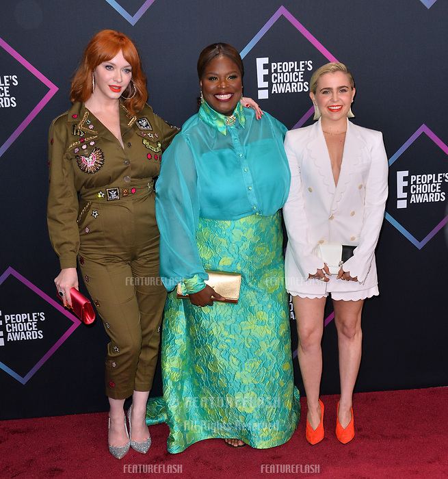 LOS ANGELES, CA. November 11, 2018: Christina Hendricks, Retta &amp; Mae Whitman at the E! People's Choice Awards 2018 at Barker Hangar, Santa Monica Airport.<br /> Picture: Paul Smith/Featureflash