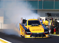 Mar 15, 2015; Gainesville, FL, USA; NHRA funny car driver Del Worsham during the Gatornationals at Auto Plus Raceway at Gainesville. Mandatory Credit: Mark J. Rebilas-