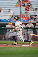 Connecticut Tigers shortstop Cole Peterson (20) bats during game against the Auburn Doubledays on August 10, 2017 at Falcon Park in Auburn, New York.  Connecticut defeated Auburn 4-1.  (Mike Janes/Four Seam Images)
