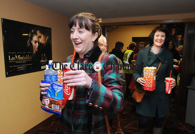Orla and Michelle Haugh from Kilkee arriving at the Empire Movieplex in Ennis for the charity screening of Les Miserables which took place in support of Cuan An Chláir. Photograph by Declan Monaghan