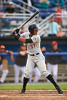 West Virginia Black Bears center fielder Sandy Santos (27) at bat during a game against the Batavia Muckdogs on June 28, 2016 at Dwyer Stadium in Batavia, New York.  Batavia defeated West Virginia 3-1.  (Mike Janes/Four Seam Images)