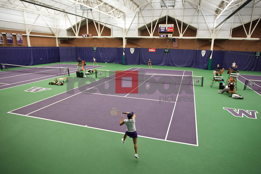 Denise Dy, tennis center overall..------Washington Huskies women's tennis team vs Texas A&M at the Nordstrom Tennis Center in Seattle on Sunday, Februrary 19, 2012. (Photo by Dan DeLong/Red Box Pictures)