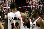 04/08/11--Trailblazers' LaMarcus Aldridge, Gerald Wallace and Wesley Matthews celebrate a 93-86 win over the L.A. Lakers at the Rose Garden..Photo by Jaime Valdez........................................