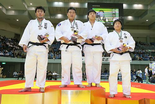 (L-R) Kenta Nishigata, Daiki Kamikawa, Yusei Ogawa, Kokoro Kageura, NOVEMBER 7, 2015 - Judo : Kodokan Cup 2015 Men's +100kg at Chiba Port Arena, Chiba, Japan. (Photo by Yohei Osada/AFLO SPORT)