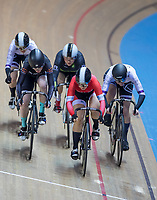 25th January 2020; National Cycling Centre, Manchester, Lancashire, England; HSBC British Cycling Track Championships; Ellie Coster (Centre Red) comes to the front on the final bend to win her heat