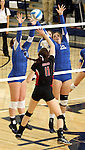 SIOUX FALLS, SD - NOVEMBER 5:  Dalee Stene#17 and Jessica Mieras #22 from O'Gorman team up for a block on Abbie Sell #11 from Brookings in the second game of their District 1AA game Tuesday night at O'Gorman (Photo by Dave Eggen/Inertia)