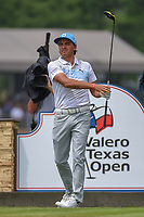 Rickie Fowler (USA) watches his tee shot on 11 during day 3 of the Valero Texas Open, at the TPC San Antonio Oaks Course, San Antonio, Texas, USA. 4/6/2019.<br /> Picture: Golffile | Ken Murray<br /> <br /> <br /> All photo usage must carry mandatory copyright credit (&copy; Golffile | Ken Murray)