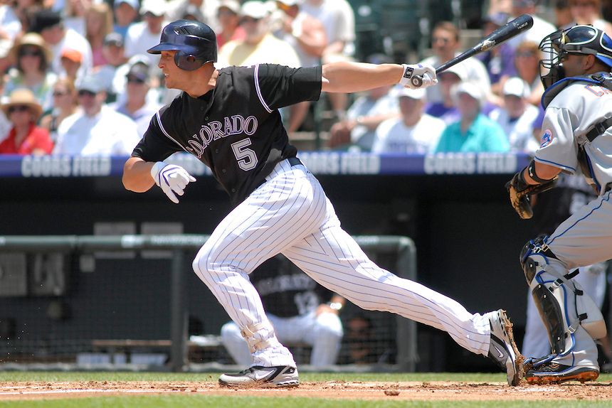 22 June 2008: Colorado Rockies outfielder Matt Holliday at bat against the New York Mets. The Mets defeated the Rockies 3-1 at Coors Field in Denver, Colorado on June 22, 2008. FOR EDITORIAL USE ONLY. FOR EDITORIAL USE ONLY