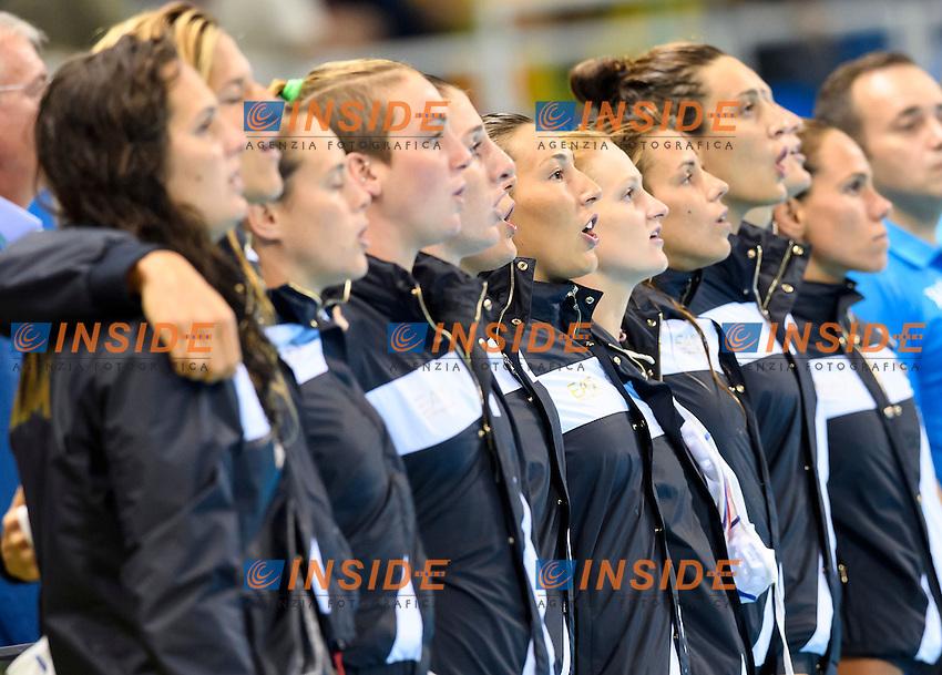 Le ragazze del 7 Rosa cantano l'inno di Mameli <br /> Rio de Janeiro 16-08-2016 Aquatic Stadium Waterpolo Quarter Finals <br /> ITALY ITA - CHINA CHN<br /> Foto Andrea Staccioli/Deepbluemedia/Insidefoto