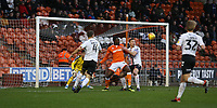 Charlton Athletic's Jason Pearce denies Blackpool's Joe Dodoo a goalscoring chance<br /> <br /> Photographer Stephen White/CameraSport<br /> <br /> The EFL Sky Bet League One - Blackpool v Charlton Athletic - Saturday 8th December 2018 - Bloomfield Road - Blackpool<br /> <br /> World Copyright &copy; 2018 CameraSport. All rights reserved. 43 Linden Ave. Countesthorpe. Leicester. England. LE8 5PG - Tel: +44 (0) 116 277 4147 - admin@camerasport.com - www.camerasport.com