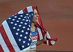 Jennifer SIMPSON (USA) wraps herself in the stars and stripes flag after coming second in the womens 1500m final. IAAF world athletics championships. London Olympic stadium. Queen Elizabeth Olympic park. Stratford. London. UK. 07/08/2017. ~ MANDATORY CREDIT Garry Bowden/SIPPA - NO UNAUTHORISED USE - +44 7837 394578