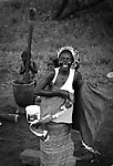 Woman of Serer tribe with her sons near to Ndiema. Senegal.