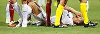 Calcio, finale di Champions League: Real Madrid vs Atletico Madrid. Stadio San Siro, Milano, 28 maggio 2016.<br /> Real Madrid&rsquo;s Cristiano Ronaldo reacts after getting injured during the Champions League final match between Real Madrid and Atletico Madrid, at Milan's San Siro stadium, 28 May 2016.<br /> UPDATE IMAGES PRESS/Isabella Bonotto