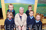Junior infants, Cody Conway, Cliona Brosnan, Megan Lyons, Ross Sugrue and Kate O'Flaherty in Clogher NS with their teacher Ms Murphy.