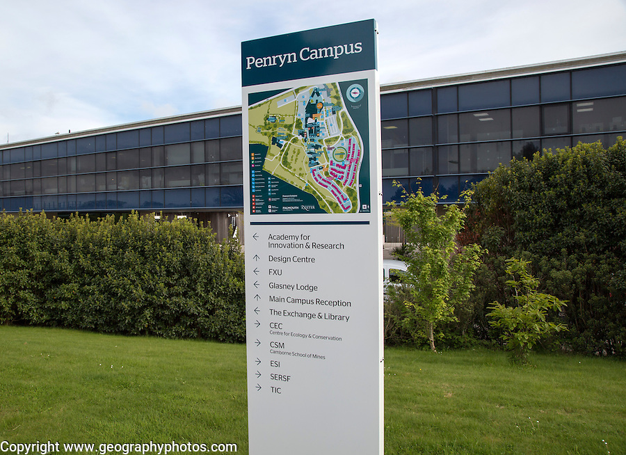 Map of Tremough campus, University of Falmouth, Penryn, Cornwall, England, UK