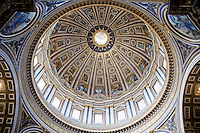 The St. Peter's Basilica dome is seen during a tour of the Vatican on Thursday, Sept. 24, 2015. (Photo by James Brosher)